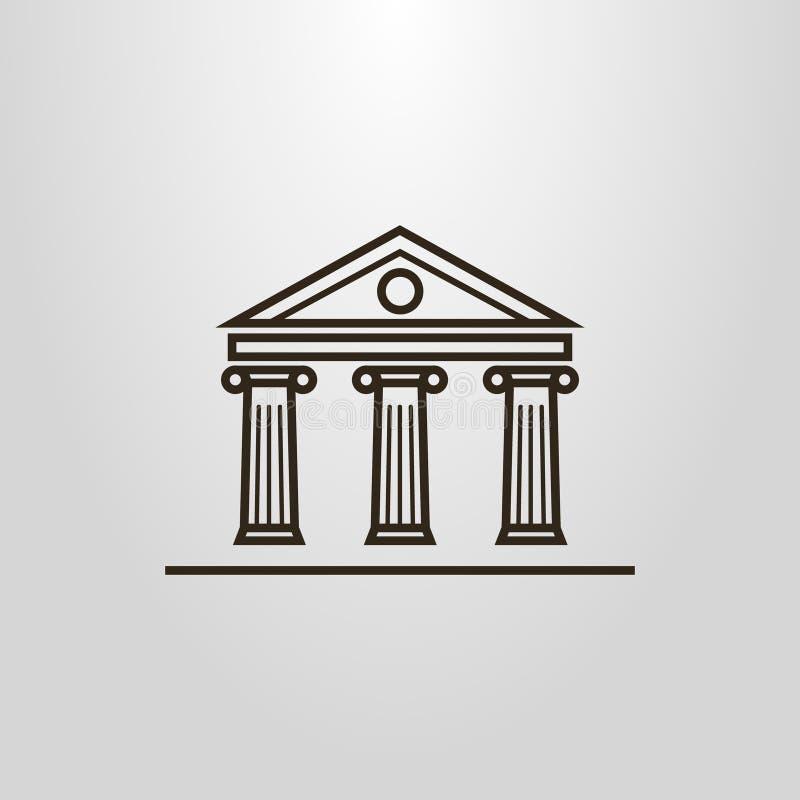 Linha simples pictograma da construção da antiguidade das colunas do vetor da arte ilustração stock