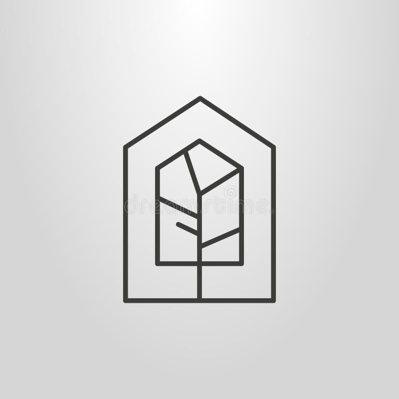 Linha simples pictograma geométrico do vetor da arte da árvore em um quadro da casa-forma ilustração stock