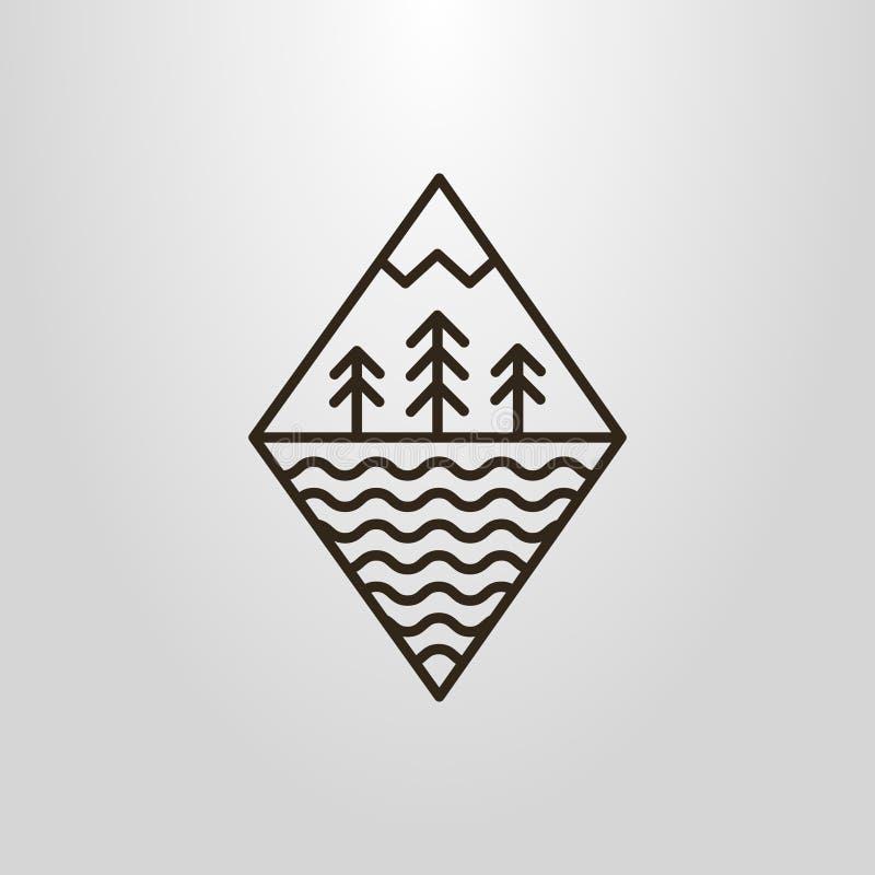 Linha simples pictograma grometric do vetor da arte de ondas da floresta, do moutain e de água ilustração do vetor