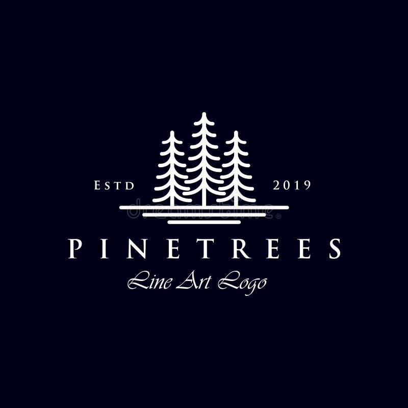 Linha simples projeto de Art Evergreen/logotipo do pinheiro ilustração royalty free