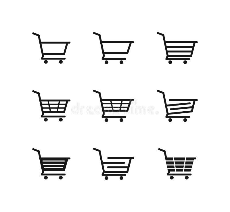 linha simples projeto do logotipo do ícone do vetor do carrinho de compras ilustração royalty free