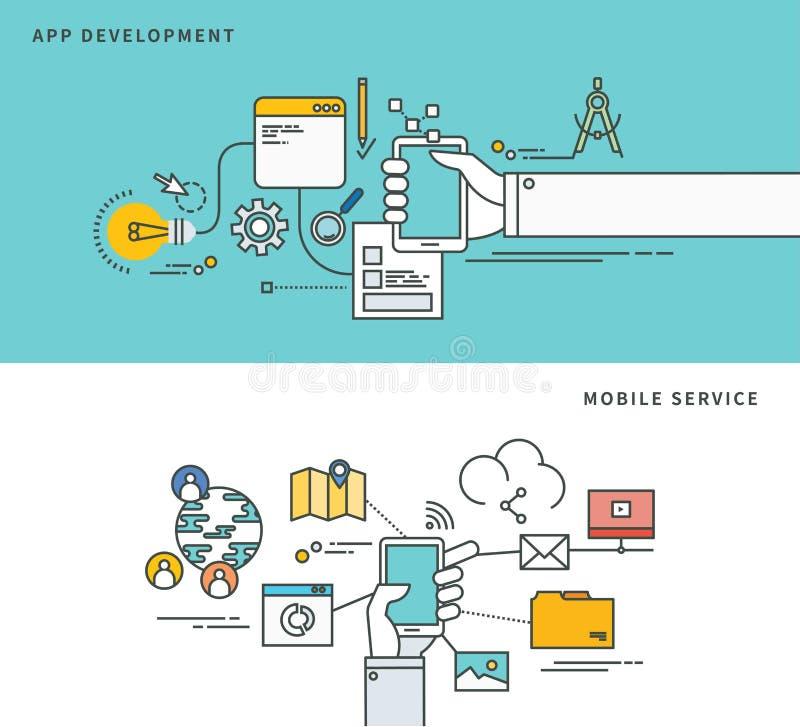 Linha simples projeto liso do desenvolvimento do app & do serviço móvel, ilustração moderna do vetor ilustração stock