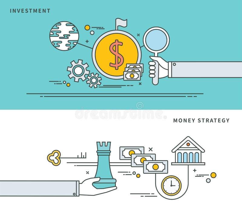 Linha simples projeto liso do investimento & da estratégia do dinheiro, ilustração moderna do vetor ilustração royalty free