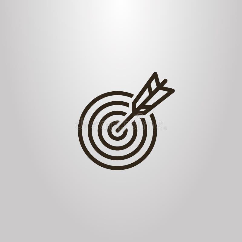 Linha simples setas do vetor do sinal da arte que batem no centro do alvo ilustração stock