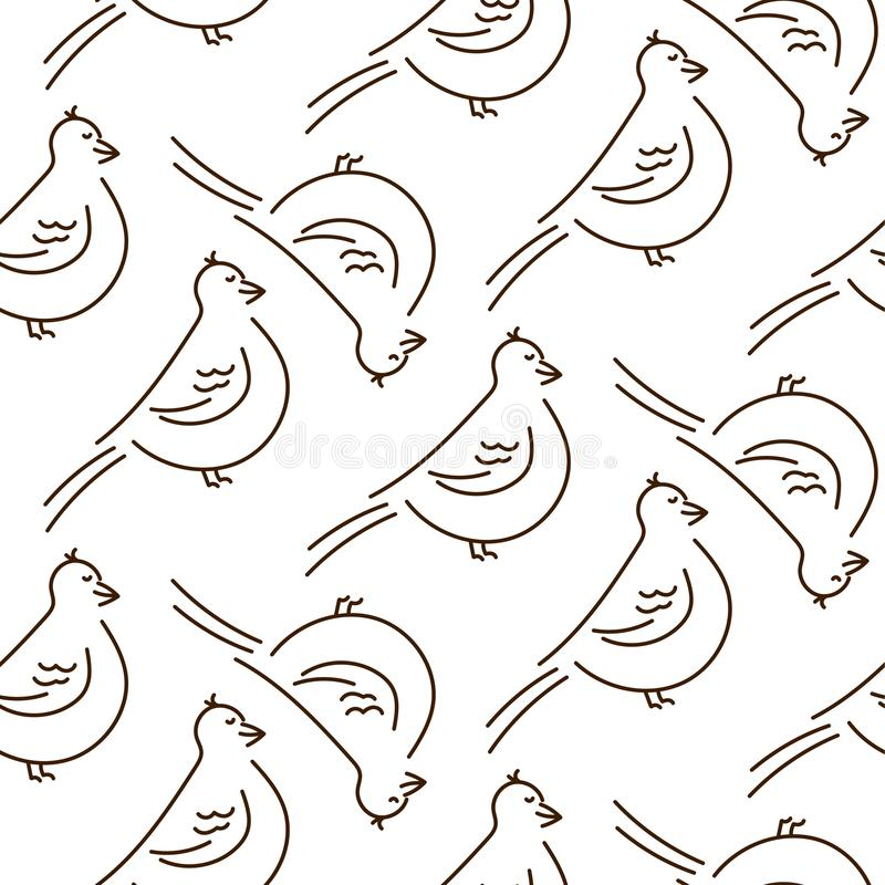 Linha simples teste padrão sem emenda do divertimento do vetor dos pássaros do estilo no fundo branco ilustração royalty free