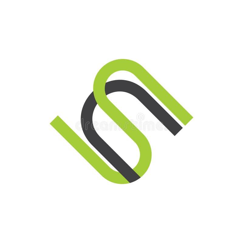Linha simples vetor geom?trico do sn das letras do logotipo ilustração stock