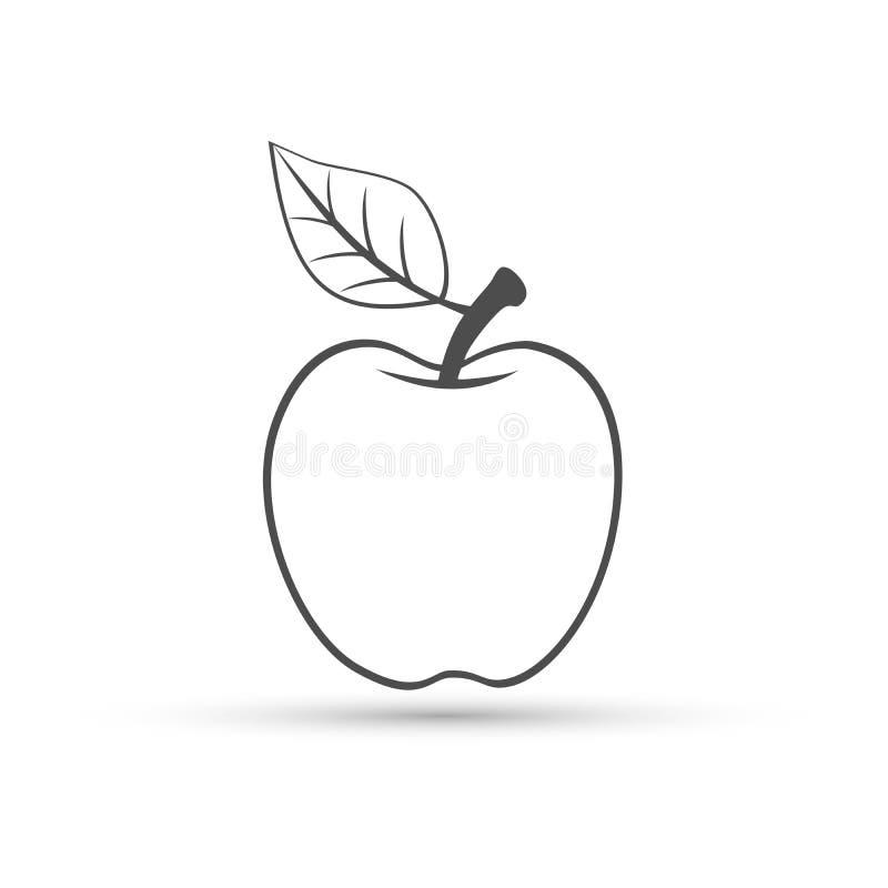 Linha sinal de Apple do elemento do ícone do logotipo da arte no fundo branco ilustração do vetor