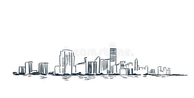 Linha skyline da paisagem do esboço do vetor dos EUA da cidade de Miami da ilustração ilustração stock
