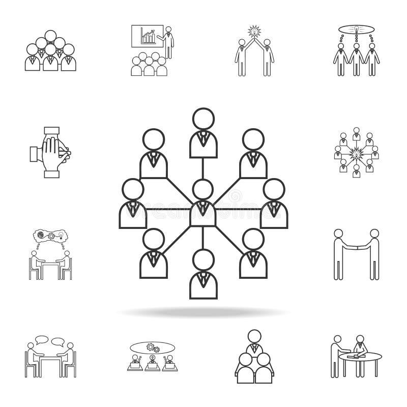 Linha social ícone da rede Grupo detalhado de ícones do esboço do trabalho da equipe Ícone superior do projeto gráfico da qualida ilustração stock