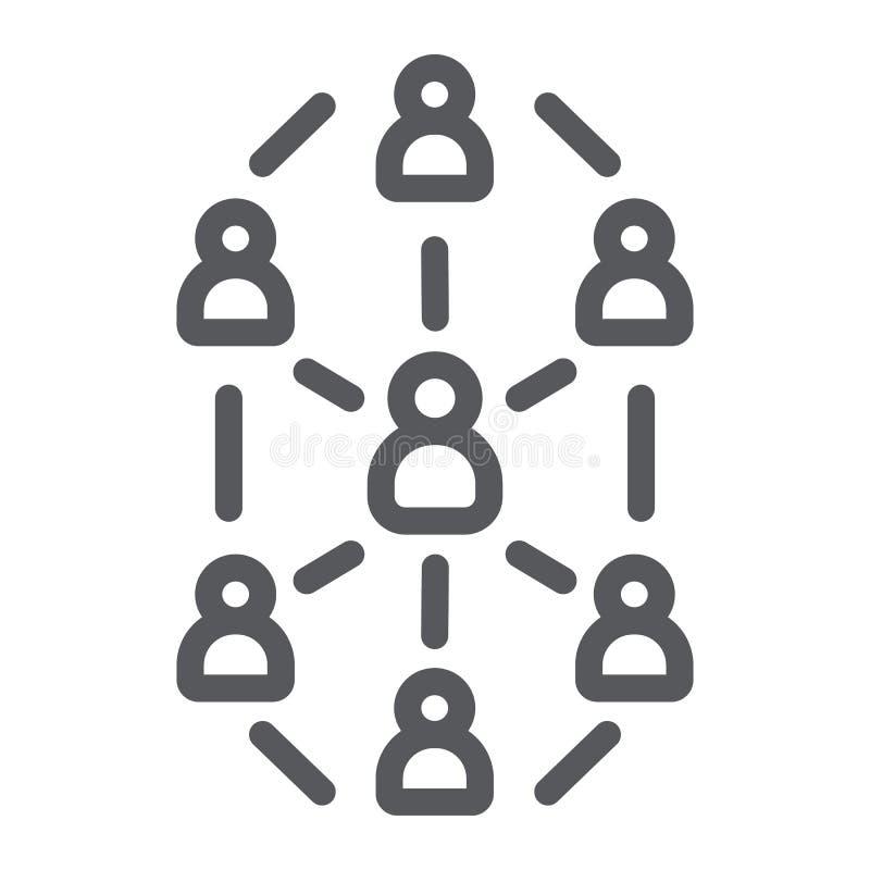 Linha social ícone da rede, Web site e Internet, sinal da rede da comunidade, gráficos de vetor, um teste padrão linear em um bra ilustração do vetor