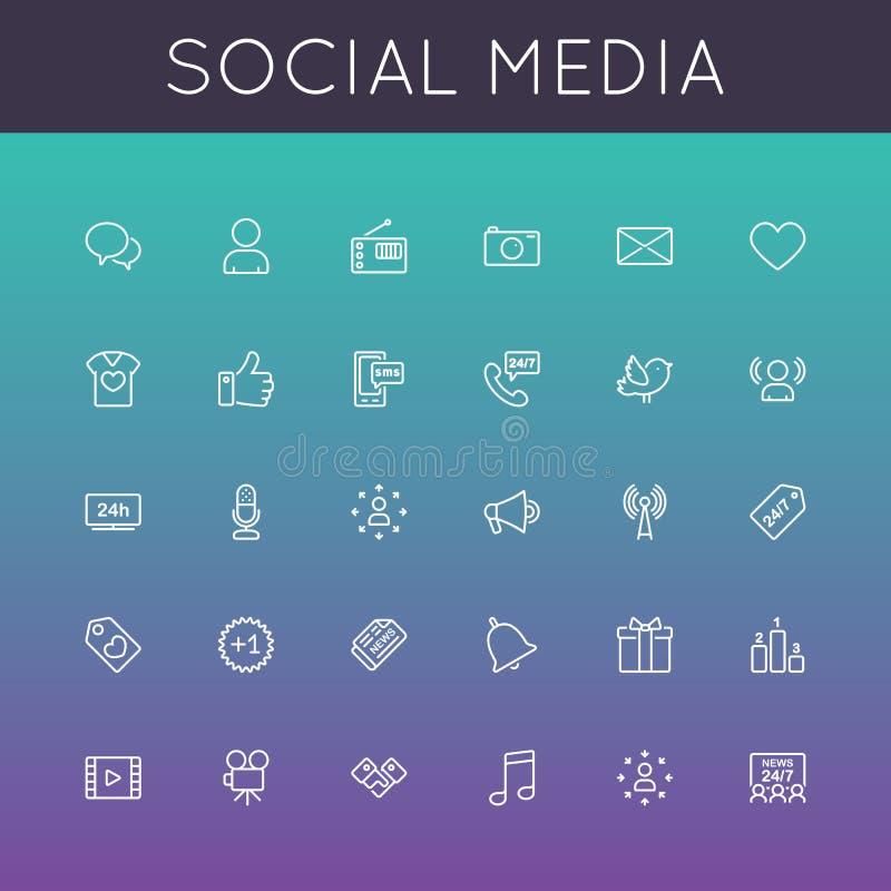 Linha social ícones dos meios do vetor ilustração do vetor
