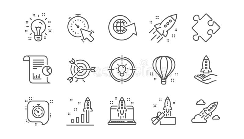 Linha Startup ícones Projeto, relatório comercial e alvo do lançamento Grupo linear do ícone Vetor ilustração royalty free