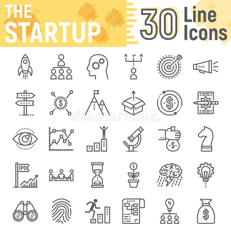Linha Startup grupo do ícone, símbolos do desenvolvimento ilustração do vetor
