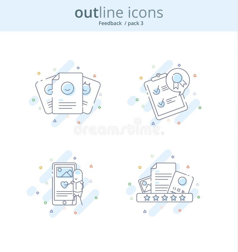 Linha superior ícone e conceito da qualidade ajustados: Gestão, índice, feedback, revisão, emoção Linha conceito do logotipo do v ilustração royalty free