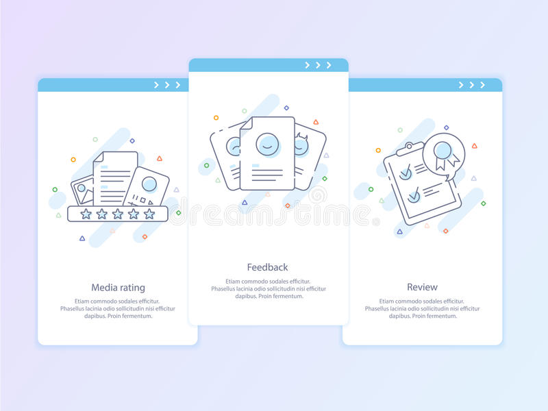 Linha superior ícone e conceito da qualidade ajustados: Gestão, índice, feedback, revisão, emoção Linha conceito do logotipo do v imagens de stock royalty free