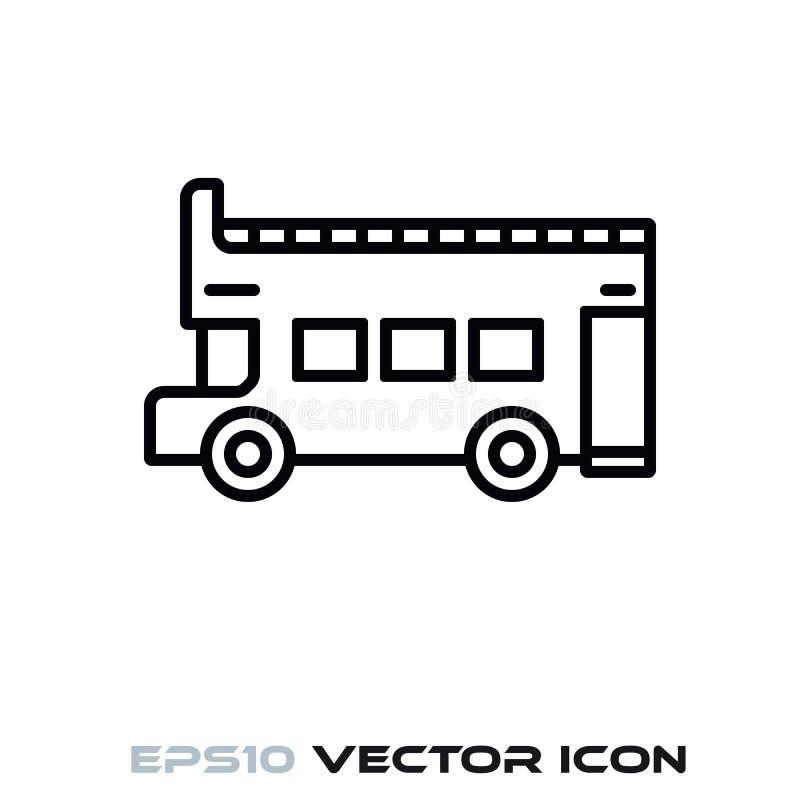 Linha superior aberta ícone do vetor do ônibus de Doubledecker ilustração royalty free