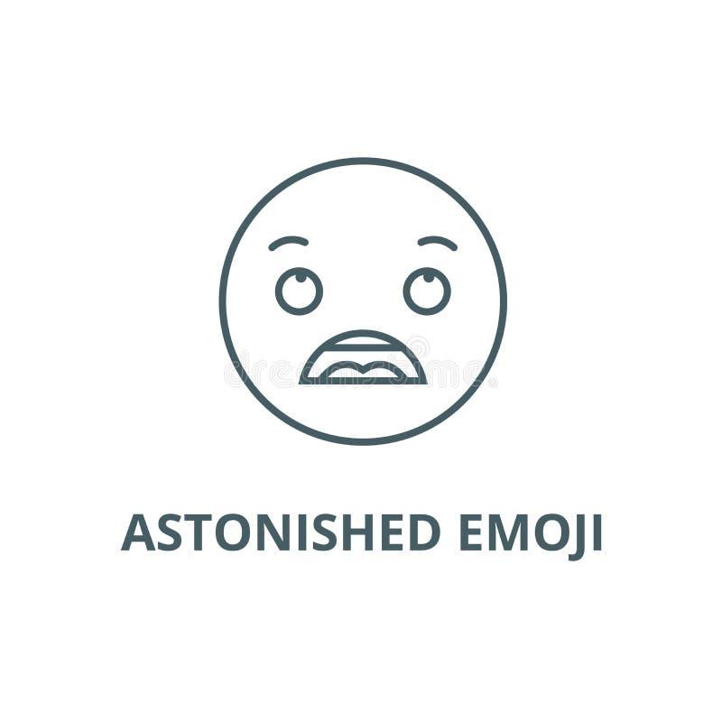 Linha surpreendida ícone do emoji, vetor Sinal surpreendido do esboço do emoji, símbolo do conceito, ilustração lisa ilustração do vetor