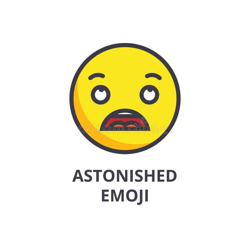 Linha surpreendida ícone do vetor do emoji, sinal, ilustração no fundo, cursos editáveis ilustração royalty free