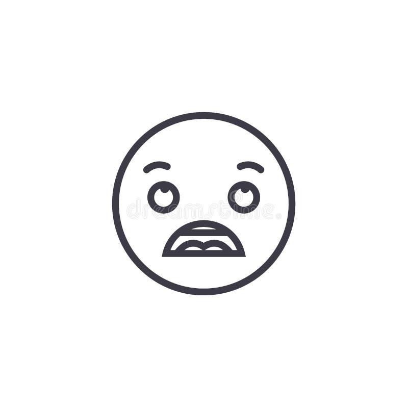 Linha surpreendida vetor editável do conceito de Emoji, ícone do conceito Ilustração linear surpreendida da emoção do conceito de ilustração do vetor