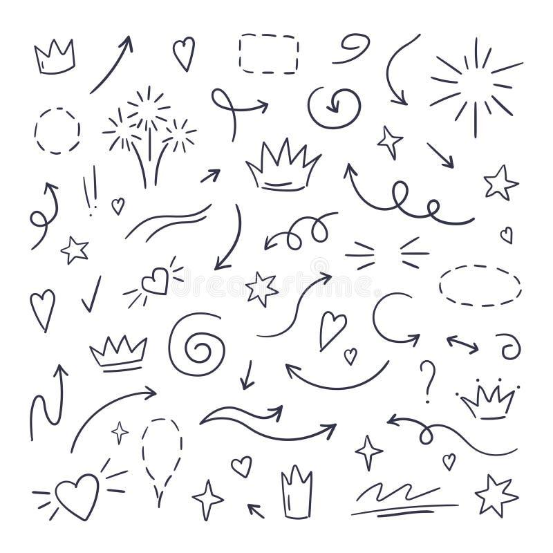 Linha swash da garatuja Os highlighteres do texto da ênfase, curso tirado mão da escova, caligrafia sublinham Mão do vetor tirada ilustração royalty free