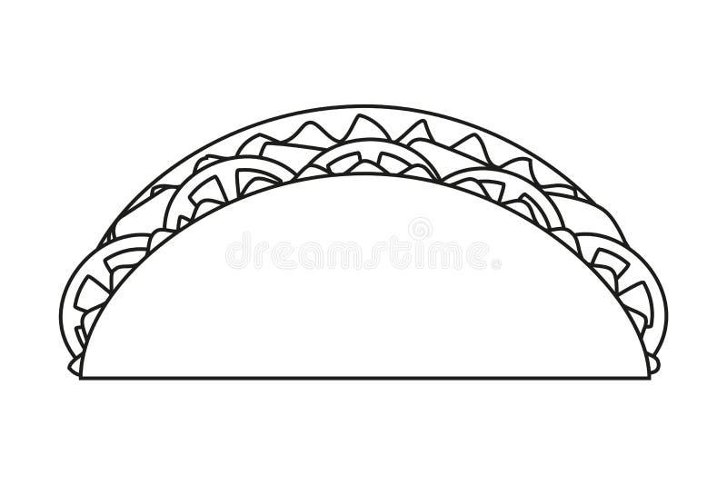 Linha taco preto e branco da arte ilustração do vetor