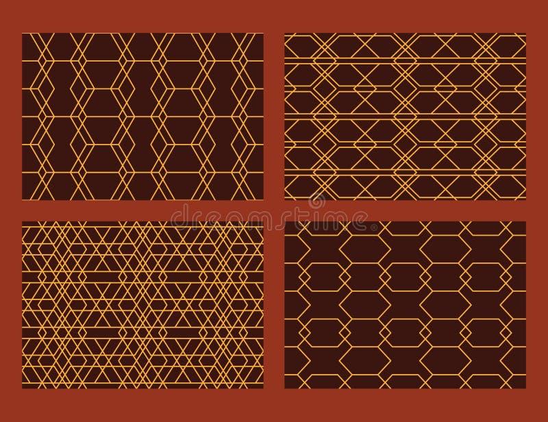 Linha teste padrão sem emenda ajustado do estilo do hexágono ilustração stock