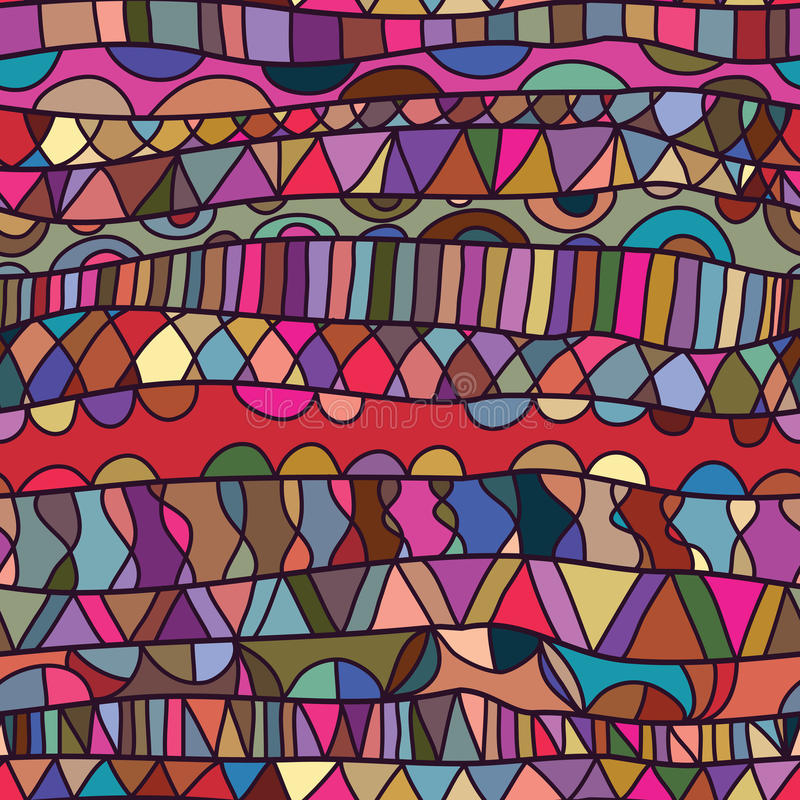 Linha teste padrão sem emenda colorido do desenho horizontal ilustração do vetor