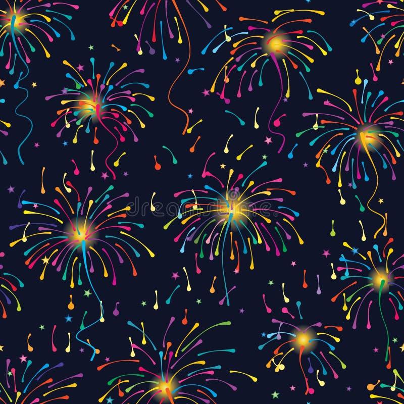 Linha teste padrão sem emenda colorido do fogo de artifício ilustração stock