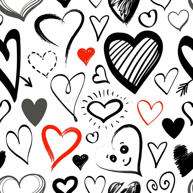 Linha teste padrão sem emenda da garatuja dos ícones do coração ilustração do vetor