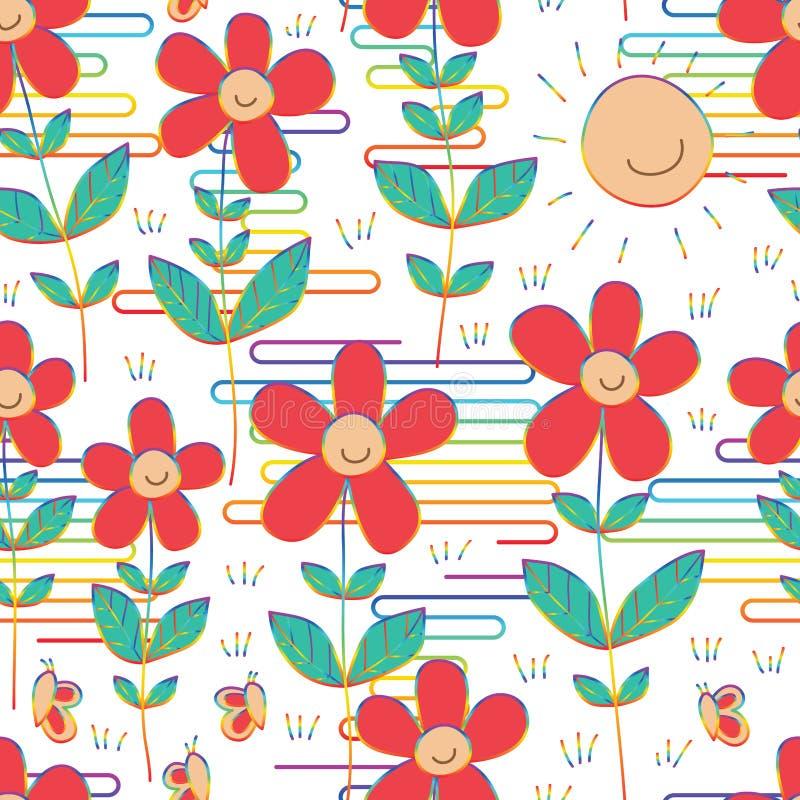 Linha teste padrão sem emenda da nuvem de Japão do estilo do arco-íris da borboleta do sorriso do sol da flor ilustração royalty free