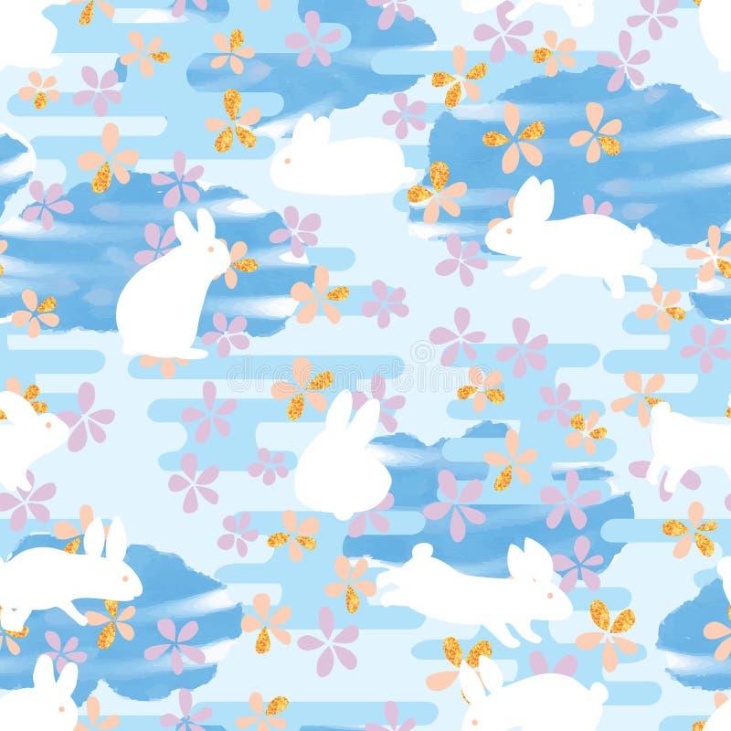 Linha teste padrão sem emenda de Japão da nuvem da listra da aquarela do coelho da flor ilustração do vetor