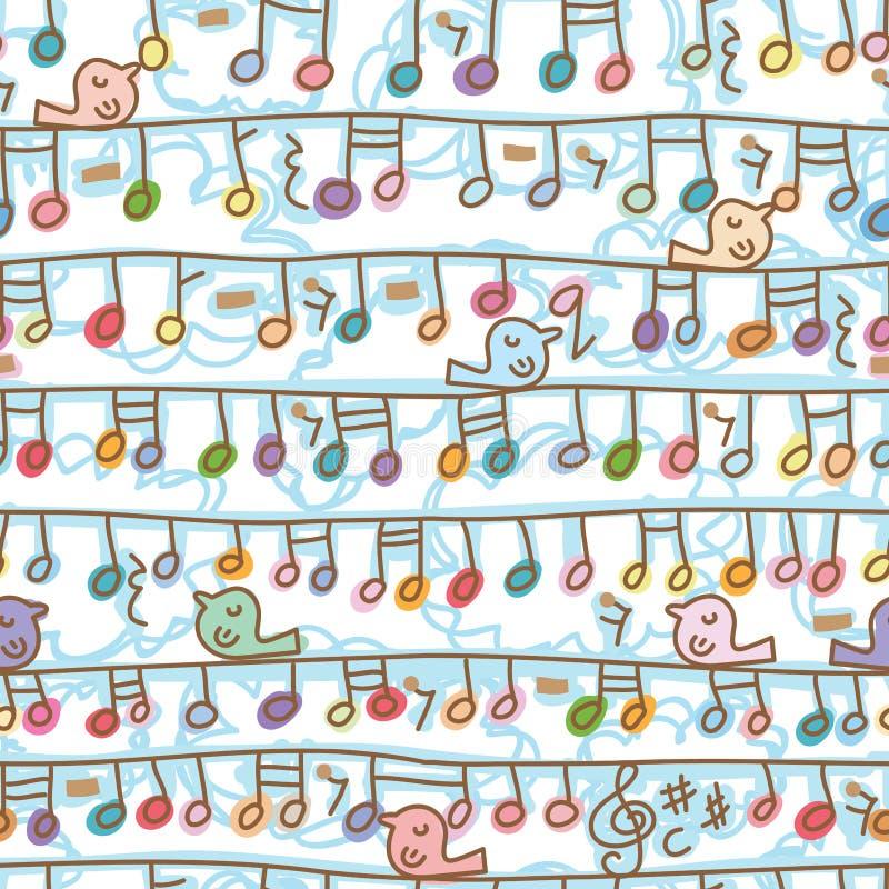 Linha teste padrão sem emenda do cair da nota da música do suporte do pássaro ilustração royalty free