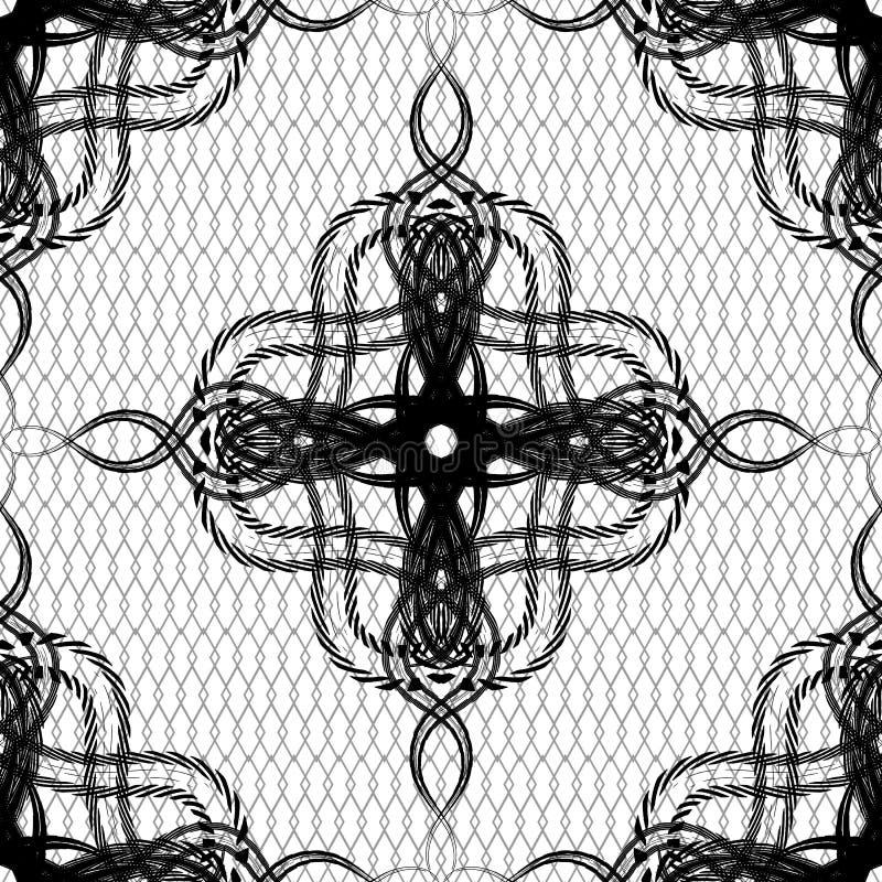 Linha teste padrão sem emenda do vetor do arabesque do vintage da arte Fundo geométrico preto e branco da estrutura da grade Repi ilustração stock