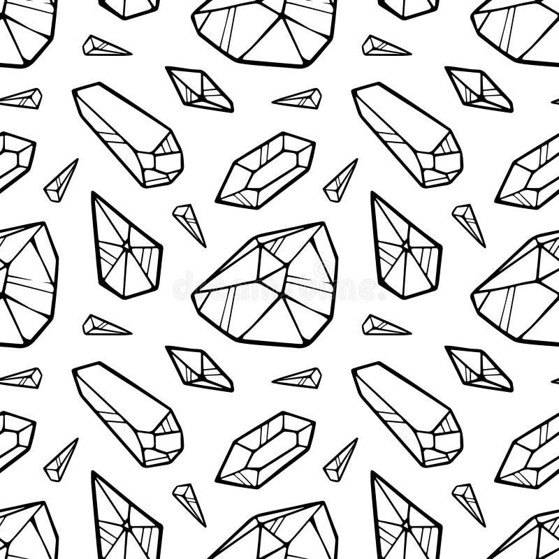 Linha teste padr?o sem emenda do preto do vetor dos cristais isolado no fundo branco ilustração do vetor