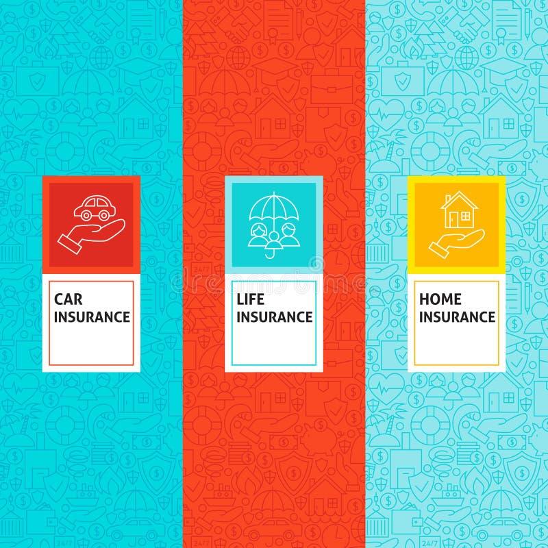 Linha testes padrões do seguro ajustados ilustração royalty free
