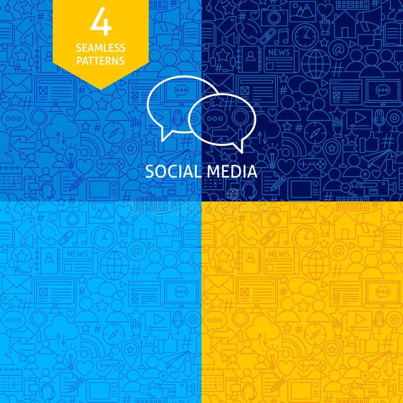 Linha testes padrões sociais dos meios ilustração royalty free