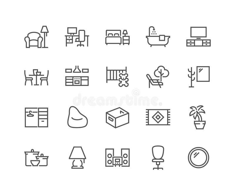 Linha tipos ícones da sala de casa ilustração royalty free