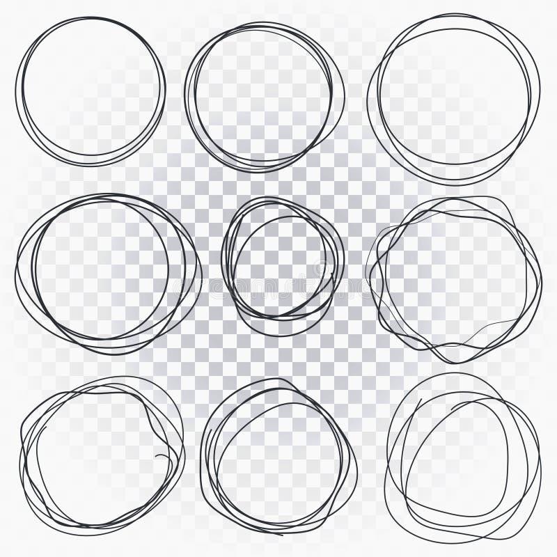 Linha tirada mão círculos esboçados ajustados Os círculos da garatuja do garrancho para a marca da mensagem projetam o elemento ilustração stock