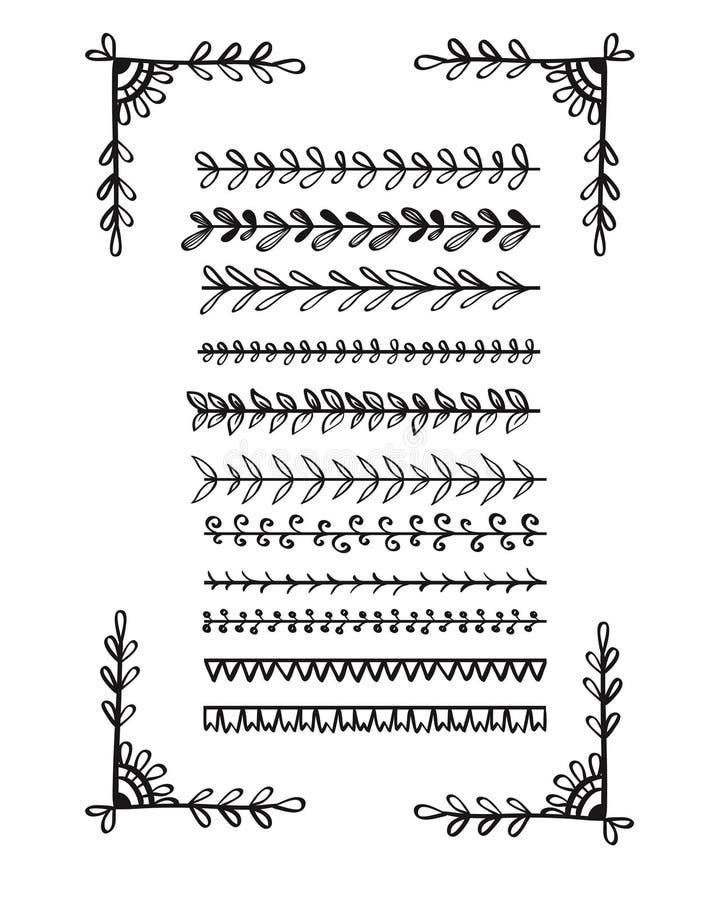 Linha tirada mão coleção das beiras ilustração royalty free