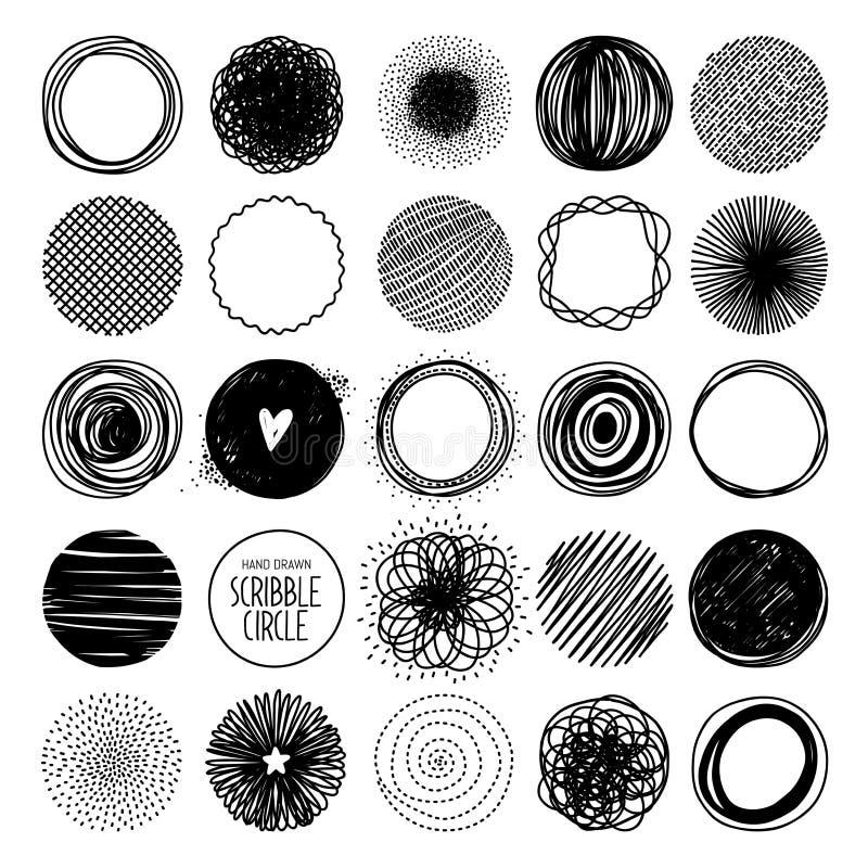 Linha tirada mão grupo do círculo do esboço ilustração stock
