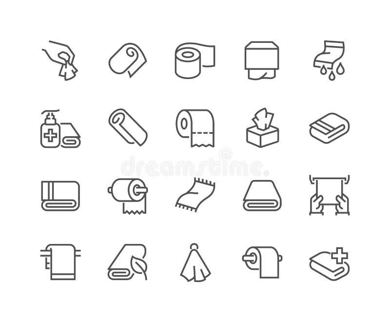 Linha toalhas e ícones dos guardanapo ilustração royalty free