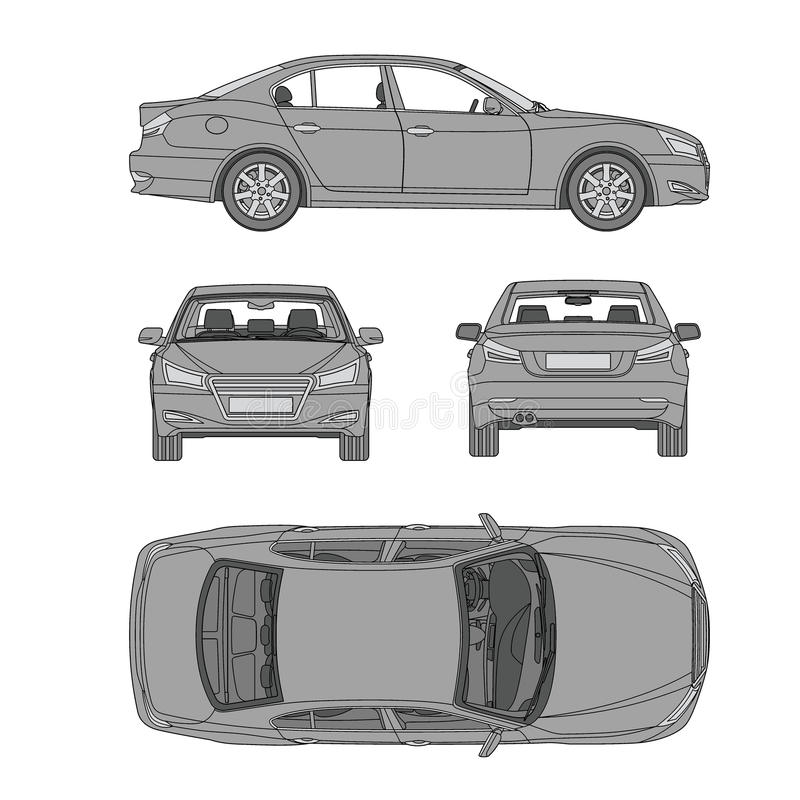 A linha tração quatro todos do carro vê o seguro da parte traseira do lado superior, dano do aluguel, modelo do formulário de rel ilustração stock