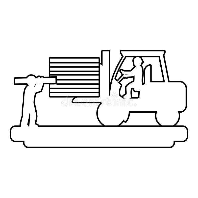 Linha trabalhadores com empilhadeira da construção e equipamento da indústria ilustração stock