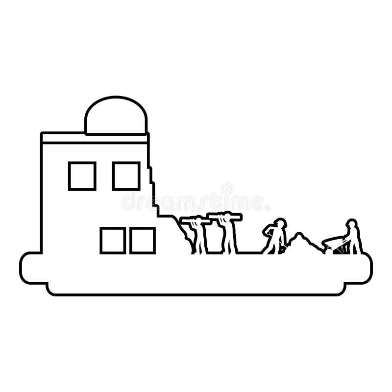 Linha trabalhadores com equipamento da indústria e construção da construção ilustração stock