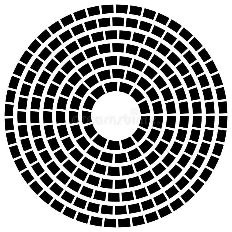 A linha tracejada concêntrica circunda - o elemento geométrico abstrato em w ilustração stock