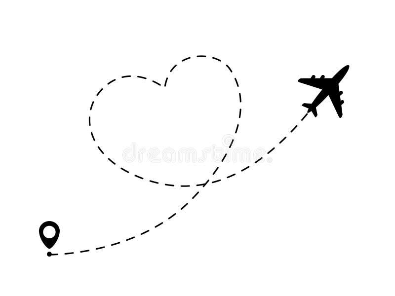 Linha trajeto do avião no formulário do coração Conceito romântico e do amor do curso ilustração royalty free