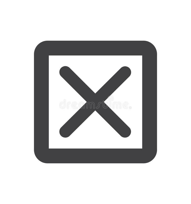 Linha transversal do ícone de X isolada na ilustração branca do vetor do símbolo do círculo do fundo ilustração do vetor