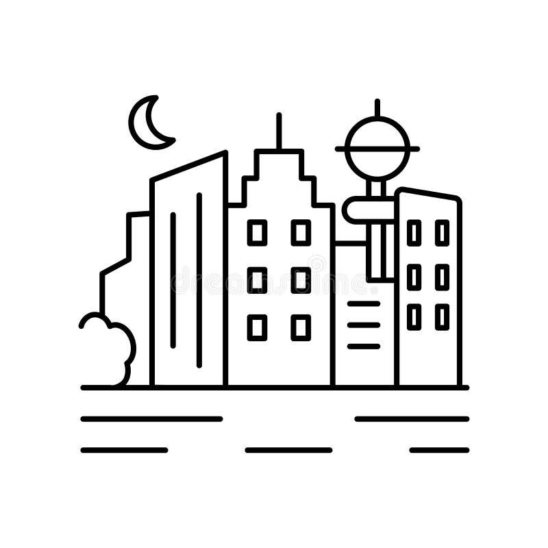 Linha urbana ícone da paisagem do mar da cidade Elemento do ícone das paisagens ilustração do vetor