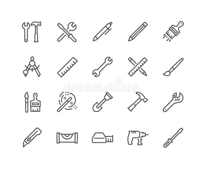 A linha utiliza ferramentas ícones ilustração do vetor