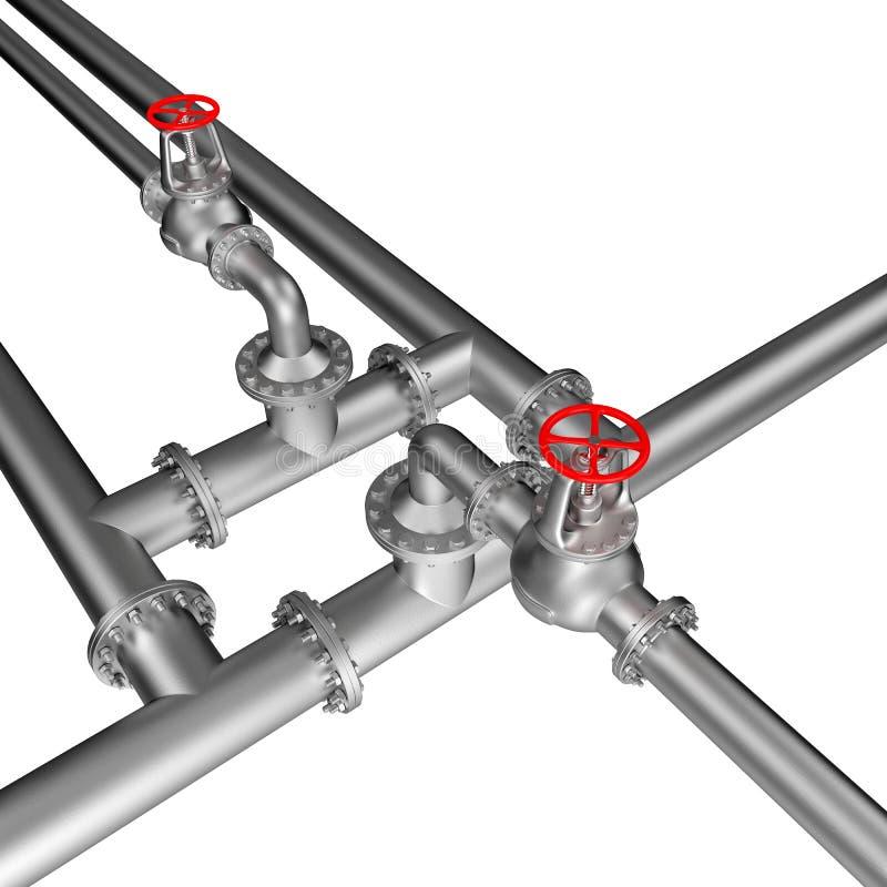 Linha válvulas da tubulação ilustração stock